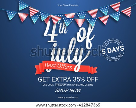 Sale Poster, Sale Banner, Sale Flyer, Best Offers Ribbon, 5 Days Sale, Limited Time Offers. Creative vector illustration for 4th of July, American Independence Day. - stock vector