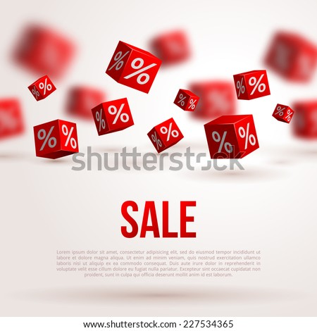 Sale poster. Vector illustration. Design template for holiday sale event. 3d red cubes with percents. Original festive backdrop. - stock vector