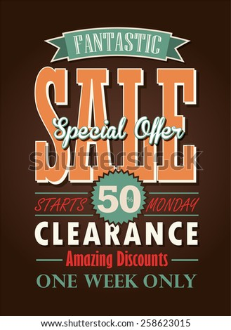 Sale Poster Vector Typography Design. - stock vector
