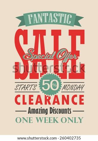 Sale Poster Vector Typography Design - stock vector