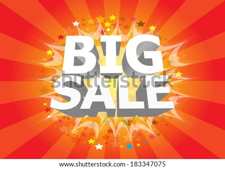 Sale poster with 3D text