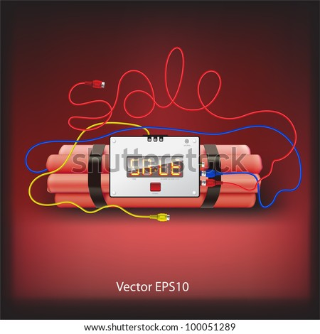 Sale poster with explosives alarm clock, detonator isolated on grey background, vector Eps10 illustration.