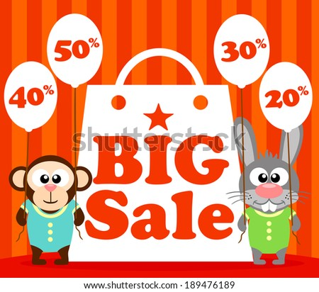 Sale poster with funny animal vector - stock vector