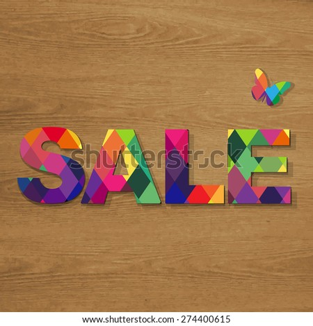 Sale Poster With Wooden Background, Vector Illustration - stock vector