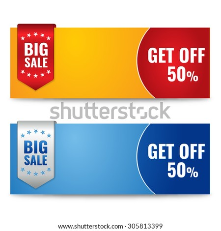 """Sale promotion banners with """"Get off 50%"""" text. Big sale concept. Vector Illustration. - stock vector"""