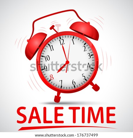 sale promotion with alarm clock  - stock vector