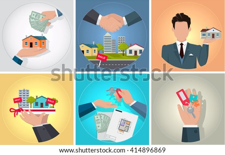 Sale purchase and rental of property. Bunch of keys in his hand. Agent or seller of real estate holding staying home. Handshake deal when buying a new home and send money. Vector illustration - stock vector