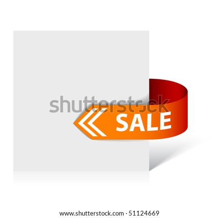 Sale red and orange corner ribbon - arrow pointing at the item in discount - stock vector