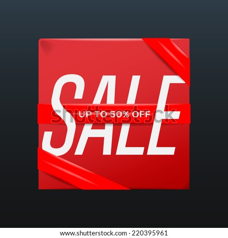 Sale red poster with ribbon up to 50 percent off on the box, vector illustration.  - stock vector