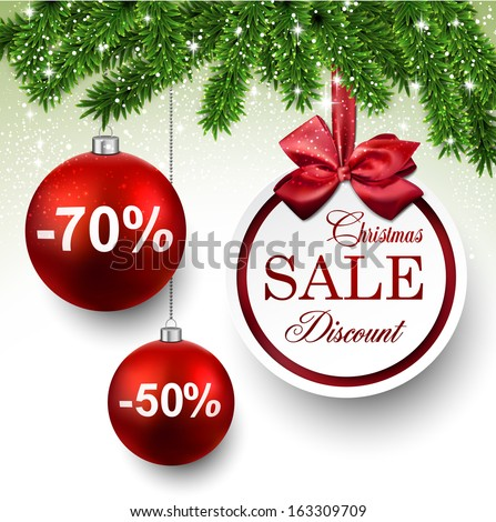 Sale red round labels. Christmas balls over starry background with fir branches. Vector illustration.  - stock vector