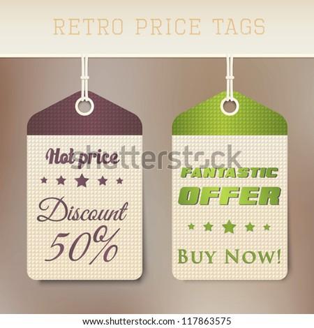 Sale retro price tags. Vector - stock vector