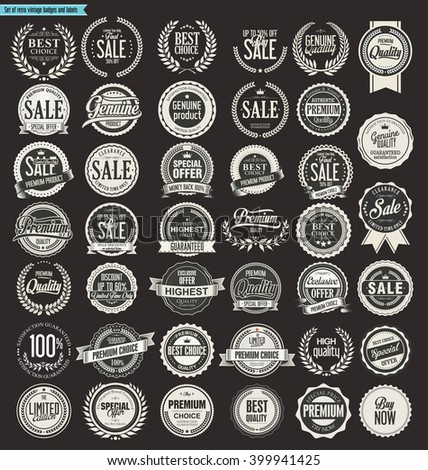 Sale retro vintage badges and labels collection - stock vector