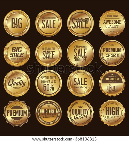 Sale retro vintage golden badges and labels - stock vector