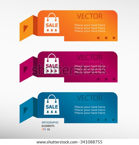 Sale shopping bag on origami paper banners. Can be used for workflow layout, diagram, business step options, banner, web design - stock vector