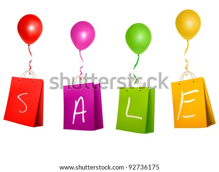 Sale shopping bags. Concept of discount. Vector illustration. - stock vector