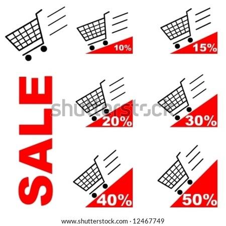 Sale Shopping cart - stock vector