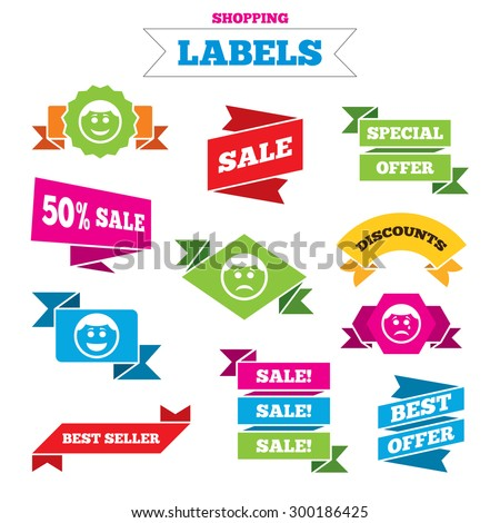 Sale shopping labels. Circle smile face icons. Happy, sad, cry signs. Happy smiley chat symbol. Sadness depression and crying signs. Best special offer. Vector - stock vector
