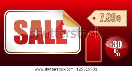 Sale sign and price tags