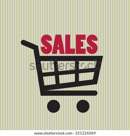 Sale sign on the cart - stock vector