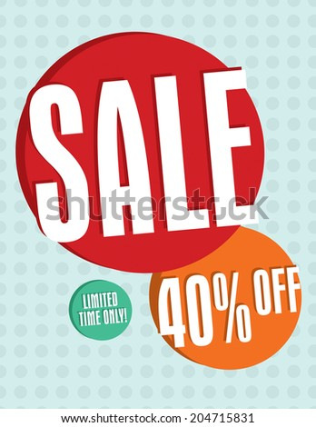 Sale sign with circles and dots 40% off - stock vector