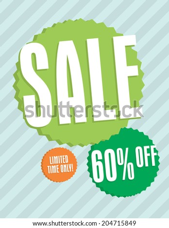 Sale sign with star burst and strips 60% off - stock vector