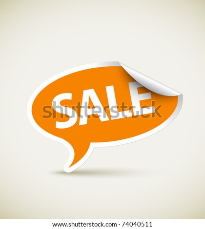 Sale speech bubble as pointer with white border - stock vector