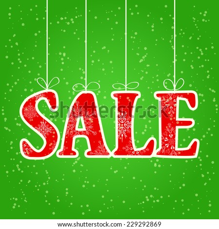Sale Spelled with Red Christmas Letters Hung by Threads - stock vector
