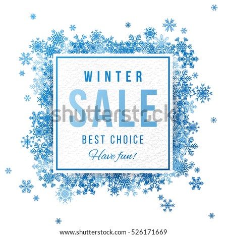 Sale square banner with blue snowflakes