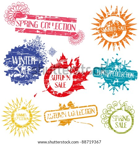 sale stamps - stock vector