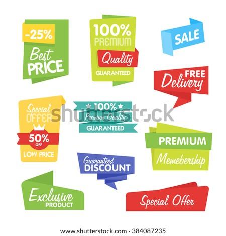 Sale sticker. Discount sticker. Vector sale sticker. Isolated sticker. Sale sticker on white background. Sale sticker. Exclusive product sticker. Special offer in origami style. Sale sticker set. Sale - stock vector