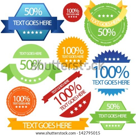 sale sticker emblems ribbons and badges - stock vector