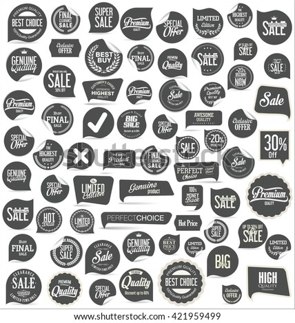 Sale stickers and tags collection - stock vector