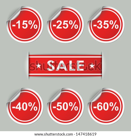 Sale stickers and tags with discounts - stock vector