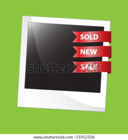 Sale stickers + photo-framework - stock vector