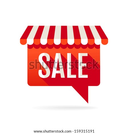 Sale symbol. Speech bubble with awning - stock vector