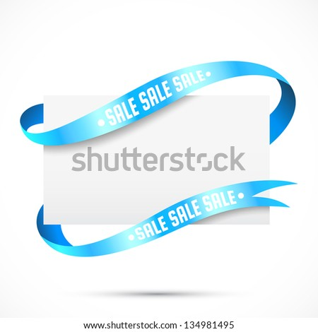 Sale tag. Blank paper with ribbon vector - stock vector