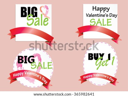 Sale tag ,coupon  Happy Valentine's day discount sale banner,vector illustration