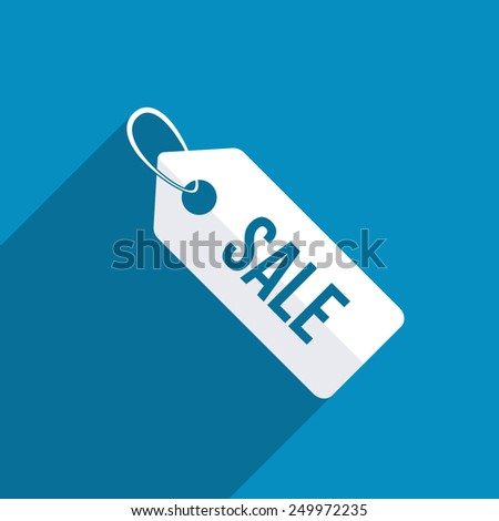 Sale tag icon. Modern design flat style icon with long shadow effect - stock vector