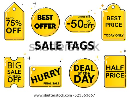 Sale Tag Label Yellow Black Color Stock Vector 523563667