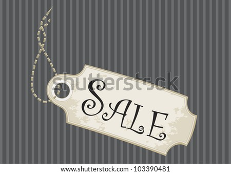 Sale tag or swing ticket in a fancy design over pinstripe background