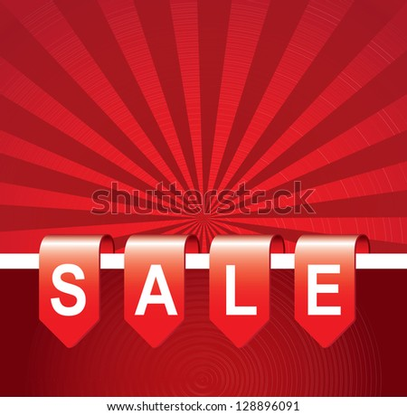 Sale tag over red line background vector illustration - stock vector