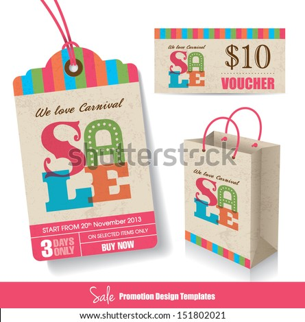 Sale Tag, Paper Bag & Voucher Design Templates - stock vector