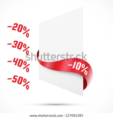 Sale tag. Red ribbons. Vector illustration