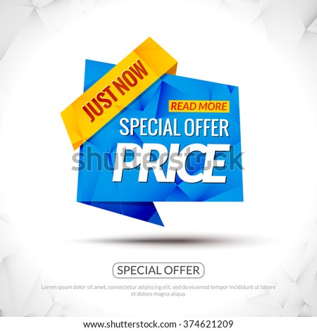 Sale Tag special price Paper Origami style banner. Promotional marketing special offer price for markets, stores and shops. Sale poster - stock vector