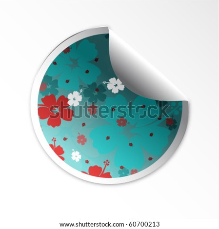 Sale tag stickers . Hibiscus flower - stock vector