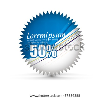 sale tag stickers with 50% discount, vector illustration - stock vector