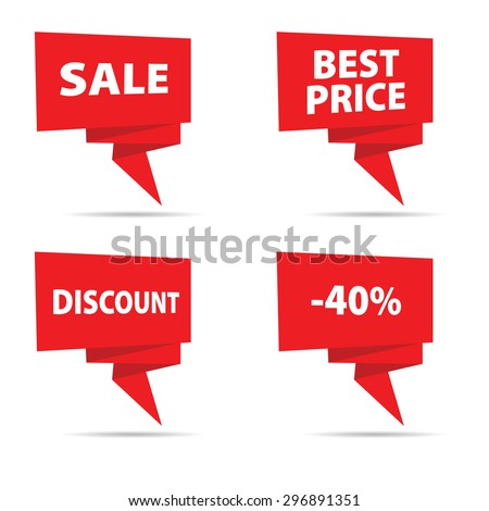 sale tag vector in red color illustration - stock vector