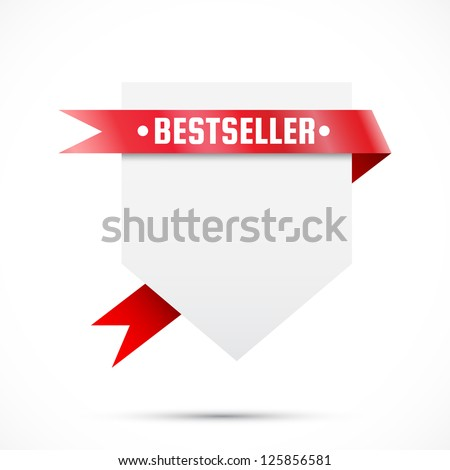Sale tag with ribbon. Red ribbons and blank paper - stock vector