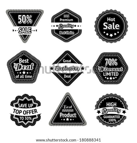 Sale tags and stickers set for best price high quality and exclusive deal isolated vector illustration - stock vector