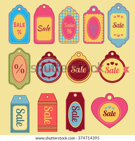 Sale tags collection. Vintage templates.  - stock vector